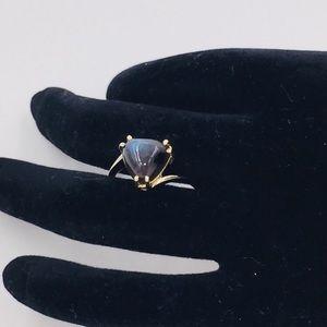 Clyde Duneier 10K Gold Cabochon Obsidian Ring 8